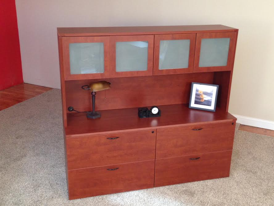 Click to enlarge image 10 Lateral File Credenzas with 4-Door Hutch.jpg