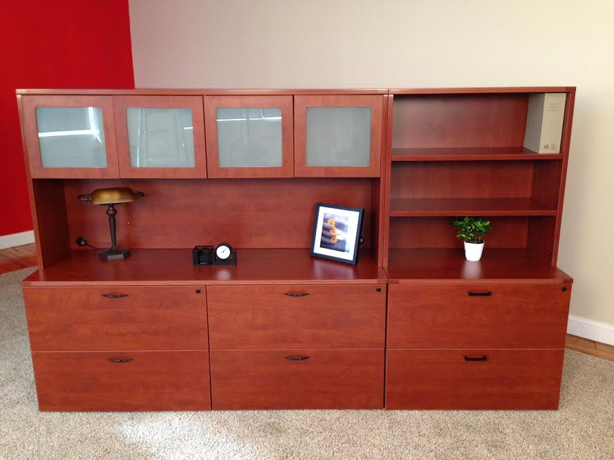 Storage Credenza with 2-Drawer Lateral & Open Hutch Office Storage