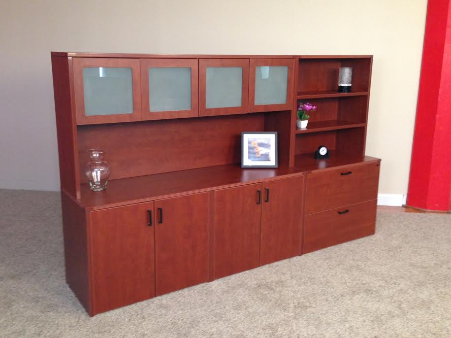 Click to enlarge image 11 Storage Credenza with 4-Door Hutch Lateral File  Open Hutch .jpg