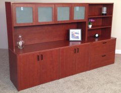 "4-Door Storage Credenza with 71"" Hutch, Lateral File & Upper Bookcase"